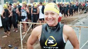 Kate Kohler prepares for swim race at Augusta Half Ironman in 2010.